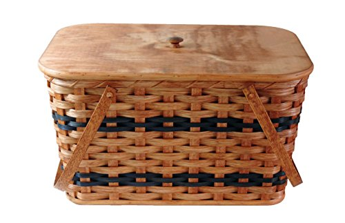 Amish Handmade Large Picnic Basket w/Divider Tray, Lid, and Two Swinging Carrier Handles in Blue