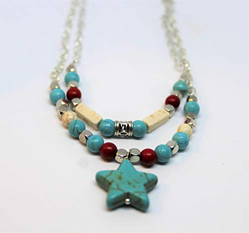 Turquoise double strand necklace, star pendant necklace