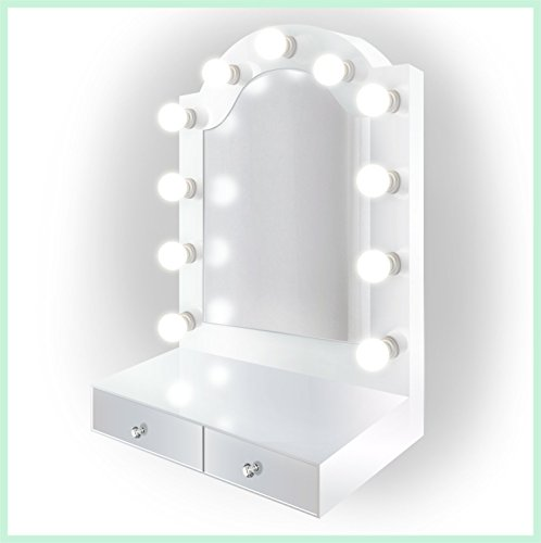 25 inch x 31 inch Lighted Hollywood Arch Vanity Mirror | Makeup Mirror With Storage| Table Top Or Wall Mount | Plug-in by Krugg (Image #7)