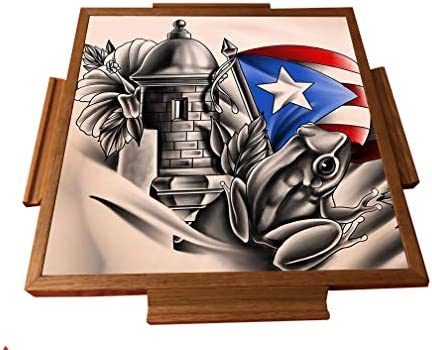 latinos r us Puerto Rico Simbolo Boricua Domino Table Top