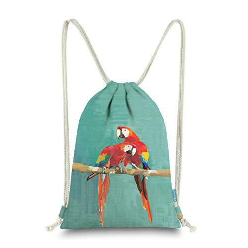Miomao Drawstring Backpack Cute Parrot String Bag Bird Cinch Sack Animal Sinch Sack Sport Gym Sack Pack For Girl Boy Teen Kids 13 X 18 Inches Scarlet Macaw