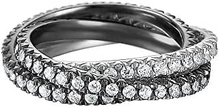 ESPRIT Women's Ring 925 Sterling Silver Rhodium Plated Glass Zirconia Brilliance