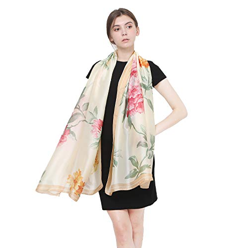 Silk Scarves for Women Large Mulberry Silk Scarf Long Lightweight Floral Print Wrap Shawl (Yellow red flower)