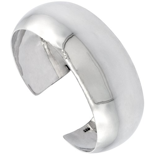 Sterling Silver Cuff Bracelet Plain Domed 1 inch wide Polished Handmade for women by Sabrina Silver