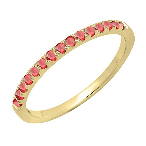 - 14K Yellow Gold Round Ruby Ladies Bridal Stackable Wedding Band 1/4 CT (Size 9)