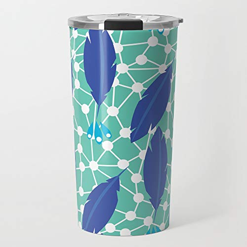 Society6 Stainless Steel Travel Coffee Mug, 20 oz, Feather Web (Lapis) by erinbrimmer