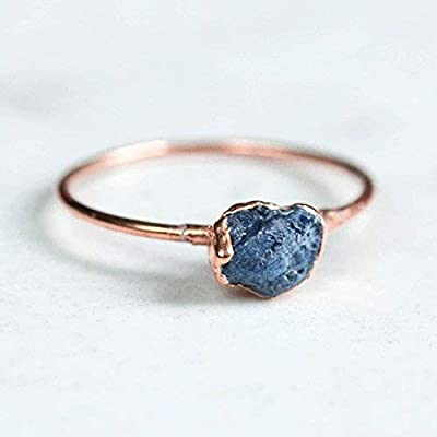 Raw Sapphire Ring, Rose Gold, Size 6, September Birthstone,14k Rose Gold Filled