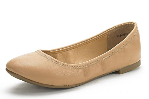 DREAM PAIRS Womens Sole Happy Ballerina Walking Flats Shoes Nude AI4YR67qRZ