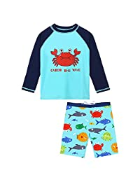 HUANQIUE Kids Swimsuit Boys UPF 50+ Sun Protection Two Piece Navy 6-12 Month