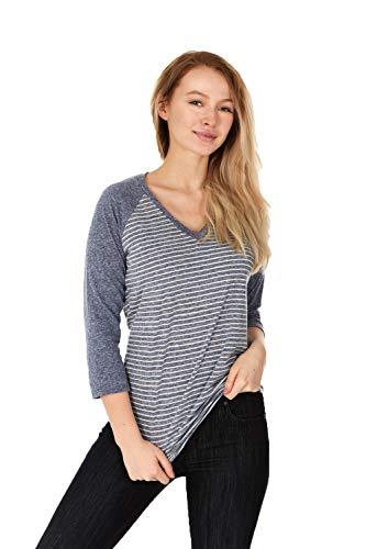 (X America Junior and Plus Size Raglan Baseball Tee, 3/4 Sleeve Shirts for Women, Made in USA (Large, Navy Stripe))