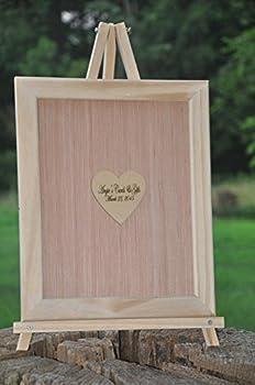 14x18 Custom Frame and Heart Alternative Wedding Guest Book Engravable Bridal Supplies