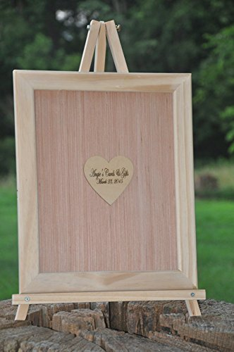 18x24 Custom Frame and Heart Alternative Wedding Guest Book Engravable Bridal Supplies by Angie's Cards and Gifts