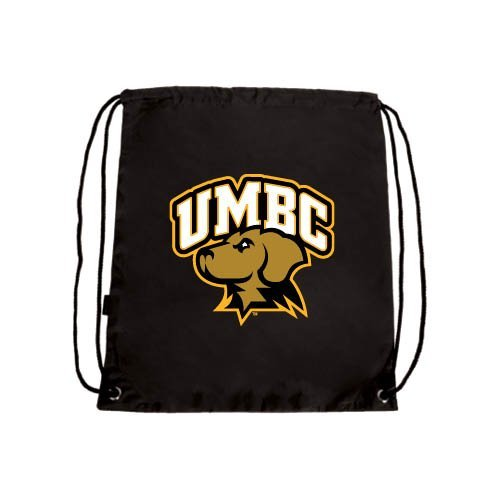 CollegeFanGear UMBC Black Drawstring Backpack 'Official Logo - Arched UMBC w/Retriever'