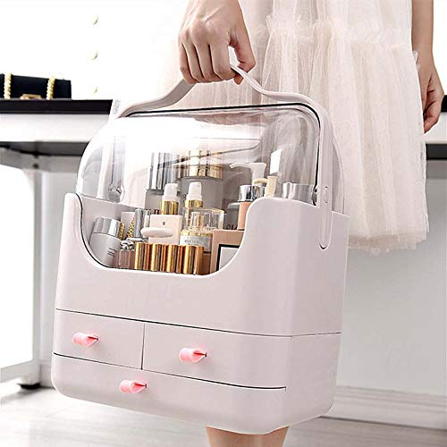 FTFTFTF Portable Cosmetic Storage Box, Creative Dressing Table, dustproof Rack, Portable Makeup Box, Drawer Jewelry Box, Cosmetic Storage Box,1