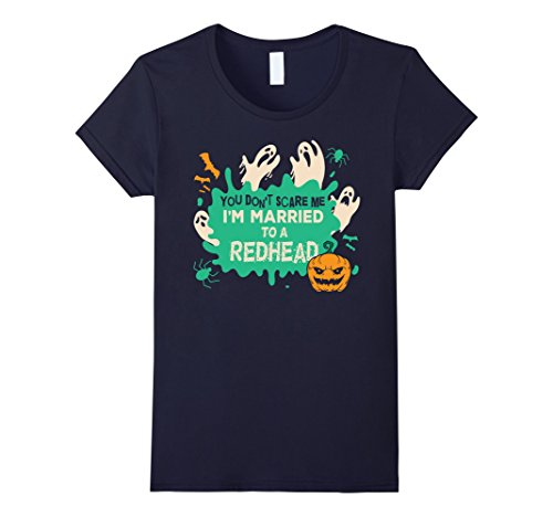 Red Head Halloween Costumes (Womens You Don't Scare Me I Married A Redhead Halloween Costume Large Navy)
