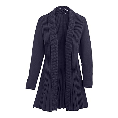 Cardigans for Women Long Sleeve Midweight Swingy Knit Cardigan Sweater W/Pocket-Navy (2X)