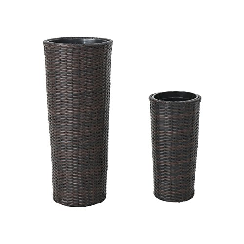- Great Deal Furniture 305736 Nikita Wicker Planters, Multi Brown Finish (Set of 2)