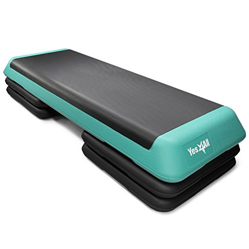 Yes4All Adjustable Aerobic Step Platform 40 inch with 4 Risers – Exercise Step Platform / Aerobic Stepper (Black/Green)