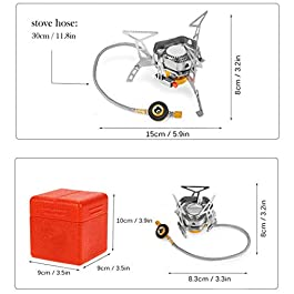 VSNOON Backpacking Stove with Windproof Design, Gas Camping Stoves with Piezo Ignition – Portable & Light – Top Mini Camp Burner for Outdoor Chef 3500W