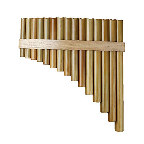 15 Pipes Pan Flute G Key Chinese Traditional Musical Instrument Pan Pipes Woodwind Instrument (15 left)