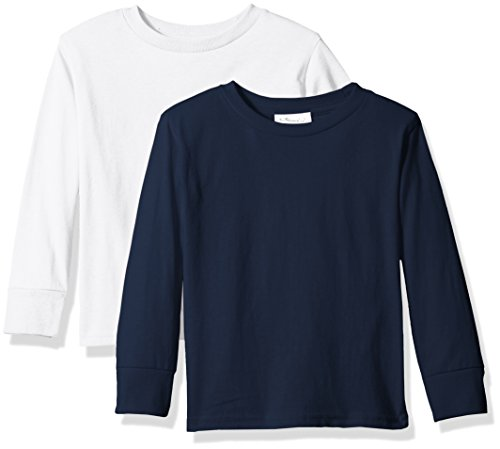 Clementine Baby Girls' Little Boys' Everyday Toddler Long Sleeve T-Shirts Crew 2-Pack, White/Navy, 3T by Clementine