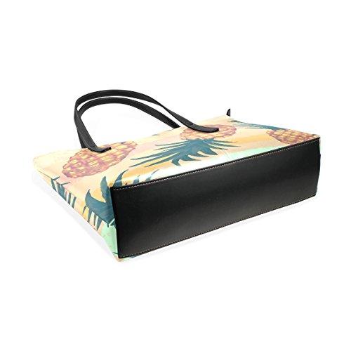 COOSUN Hand gezeichnete Muster mit Ananas PU Leder Schultertasche Handtasche und Handtaschen Tasche für Frauen