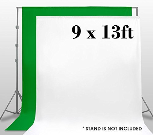Background Muslin Key Chroma (LimoStudio, AGG1860, 9x13 Foot White / Green Chromakey Fabricated Backdrop Muslin Background Screen for Photo Video Photography Studio)