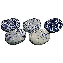Japanese Art Blue Print Bean Shape Ceramic Chopstick Rest