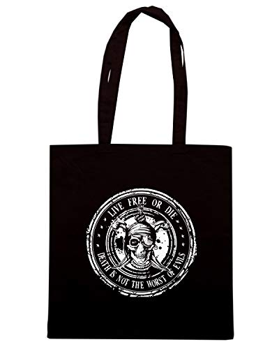 Borsa Shopper Nera TM0624 LIVE FREE OR DIE DEATH IS NOT THE WORST OF EVILS