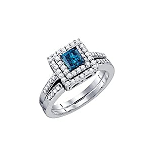 14kt White Gold Womens Princess Blue Colored Diamond Square Halo Bridal Wedding Engagement Ring Band Set 7/8 Cttw = 0.85 Cttw ( I1-I2 clarity; Blue color )