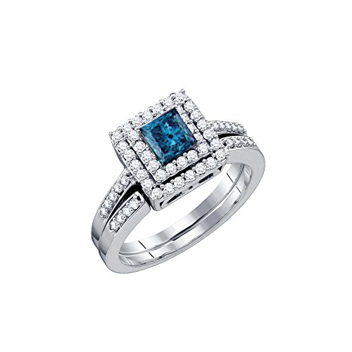 14kt White Gold Womens Princess Blue Colored Diamond Square Halo Bridal Wedding Engagement Ring Band Set 7/8 Cttw
