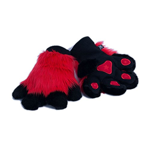 (Pawstar Paw Mitts Furry Animal Hand Paws Costume Gloves Adults - Red)