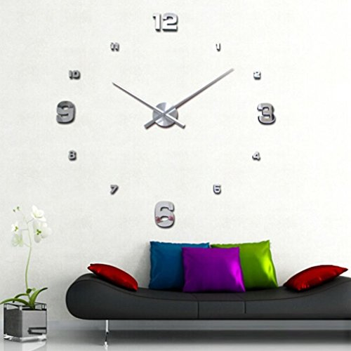 3D DIY Large Wall Sticker Mirror Acrylic Glass Clock For Home Office Decoration Sliver - 1