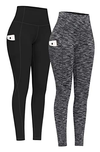 PHISOCKAT 2 Pack High Waist Yoga Pants with Pockets, Tummy Control Yoga Pants for Women, Workout 4 Way Stretch Yoga Leggings (Black+Space Dye Black, Small)