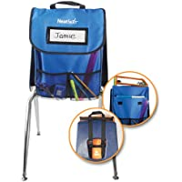EAI Education NeatSeat Classroom Chair Organizer | Oversized Name-Tag Card, Dual Inner Pockets, Blue, 16' x 12' with 1 1/2' gusset, Set of 4