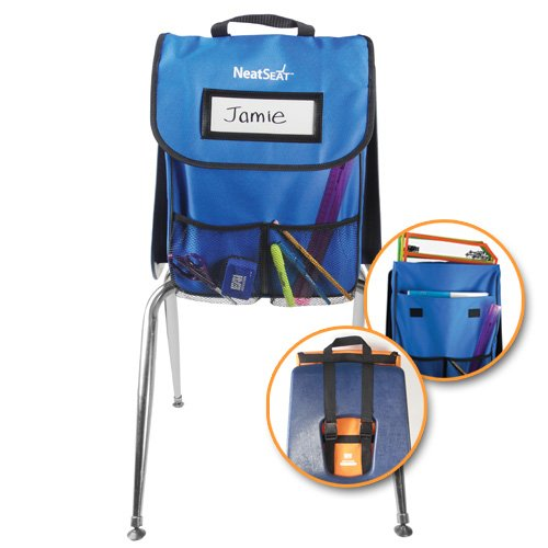 EAI Education NeatSeat Classroom Chair Organizer | Oversized Name-Tag Card, Dual Inner Pockets, Blue, 16'' x 12'' with 1 1/2'' gusset, Set of 4 by EAI Education