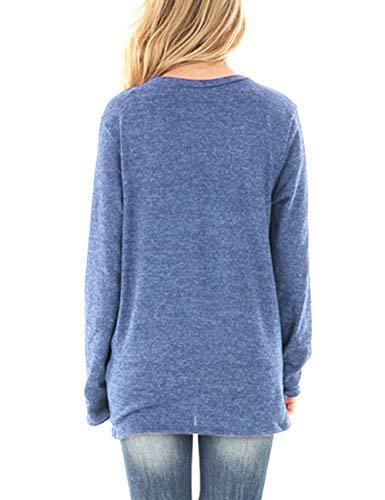 T donna basic shirt tinta aderente Tinta Felpa da Tinta girocollo Tops casual azzurro irregolare Camicia unita unita Feelingirl dxF4wqd