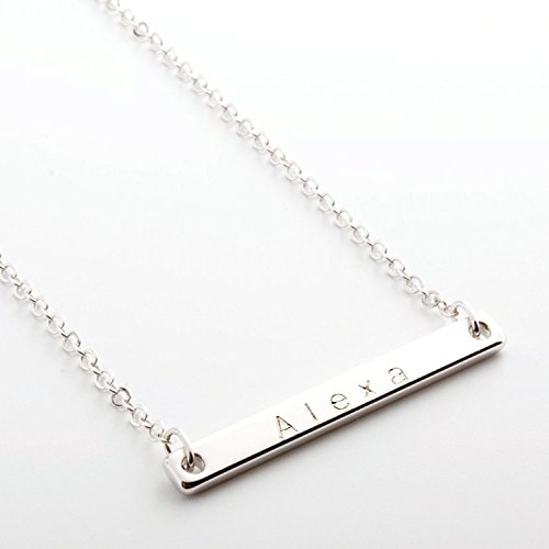 Hand Stamp Gold Silver Rose Gold Plated Name Bar Necklace - Dainty Handstamped Personalized Bar Plate Delicate Initial Charms Necklace Bridesmaid - Uk Sale Designer Online