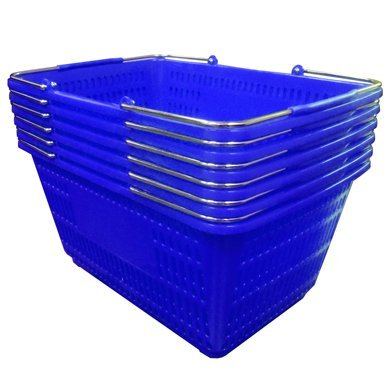 Shopping Basket (Set of 6) Durable Blue Plastic with Metal Handles