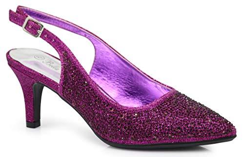(Enzo Romeo Jupiter Women's Pointy Toe High Mid Heel Sexy Ankle Strap Sandals Ballerina Dress Pump Ballet Wedding Patent Harlow Pump Shoes (9 B(M) US, Purple (06)))
