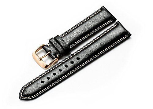 iStrap 18mm Genuine Calfskin Leather Watch Band Padded Strap RG Spring Bar Buckle Super Soft - Black ()