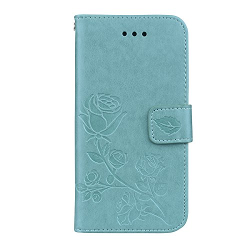 Scheam iPhone 7 Plus iPhone 8 Plus Wallet Leather Case Protective Durable Phone case Shell Folio flip Cell Phone Cover Bag Card Slots,Cash Pocket,Green ()
