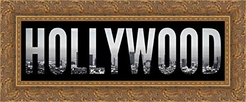 Hollywood Cityscape 24x11 Gold Ornate Wood Framed Canvas Art by Navas, -