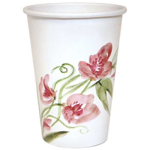 Nicole Home Collection 24 Count Everyday Paper Hot/Cold Cup, 12-Ounce, Pink Floral
