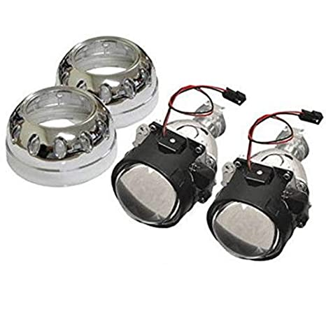 iJDMTOY (2) Mini 2 5-Inch H1 Bi-Xenon HID Retrofit Projector Lens  w/Iron-Man Style Shroud For Headlights DIY Use