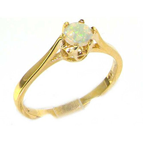 Luxury 9ct Yellow Gold Ladies English Made Opal Solitaire Engagement Ring -...