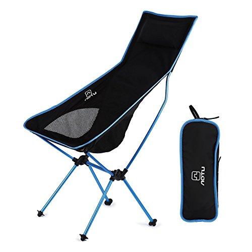 AOTU-Lightweight-Portable-Folding-High-Back-Camping-Chair-300-Pound-with-Pillow-for-Outdoor-Sport-Travel-Camping-Fishing-With-Portable-Carrying-Case-Blue-and-Black