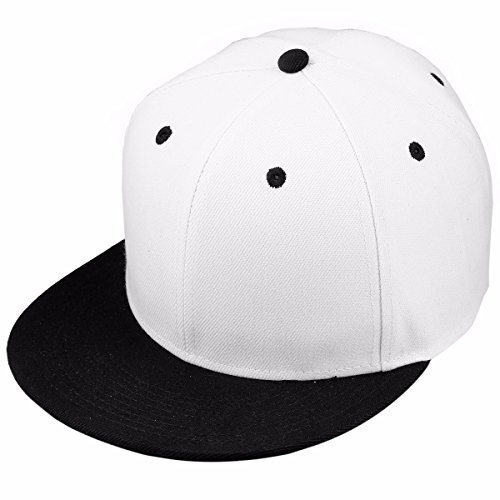 Samtree Women Men Snapback Hats,Patchwork Solid Color Flat Bill Baseball Cap(02-White+Black)