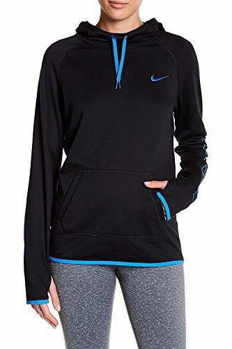 Nike Women's Just Do It Dri-Fit Training Hoodie (Black/Blue, X-Small)
