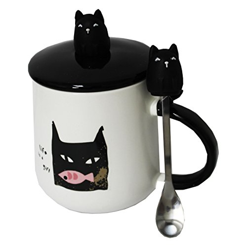 MISISO TM Cute Ceramic Black Cat Kitty Coffee or Tea Cup Mug with Lid Cover with Spoon Set,12 oz for Cute Birthday Gift
